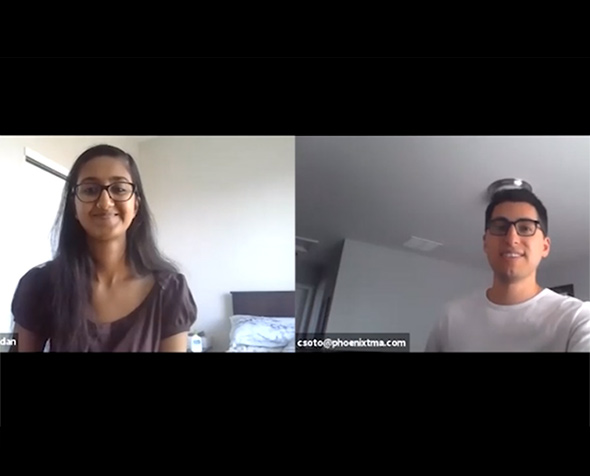 Student interviews mentor via Zoom
